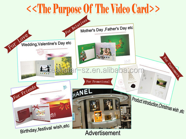 4.3 inch business invitation lcd video greeting card laser cut wedding invitations