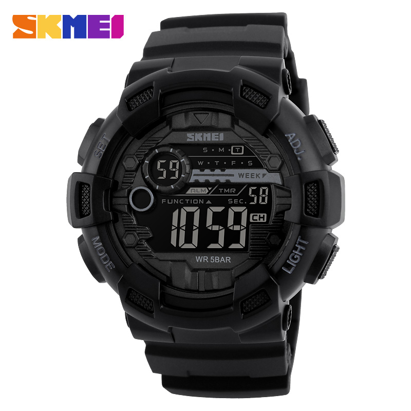 Skmei shocking resistant venta al por mayor relojes 5 atm water proof sport digital watches for <strong>men</strong> 1243