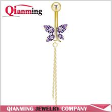 Crystal Animal Pattern CZ Piercings Womens Sexy Belly Button Ring Long Dangle Butterfly Navel Ring Dangle Body Jewelry Piercing