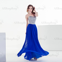 LF005 gorgeous latest designed sexy high side slit heavily beaded strapless ribbons closed chiffon evening dress