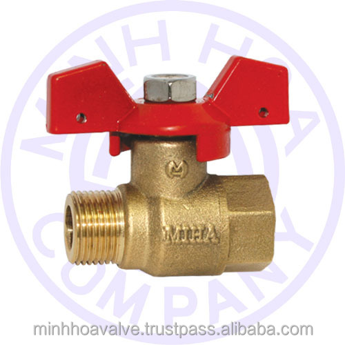 BRASS BALL VALVE BUTTERFLY HANDLE MALE/FEMALE