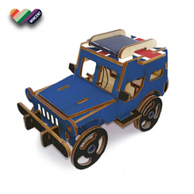 Wholesale Handmade Solar Powered Running Jeep Puzzle Wood Toys For Kids