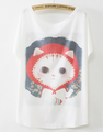 Fashion t-shirts short sleeve lovely cute summer woman fashion latest cat t shirt