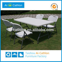 Extendable folding outdoor dining table legs and chair set