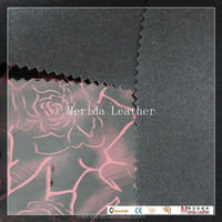 MRD21289 high quality sparkle fabric rose printed pbc leather materials to make sandals
