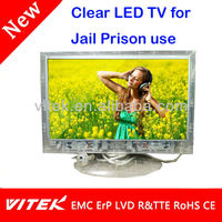 Hot ! Transparent 18.5 inch Prison Jail clear lcd led TV