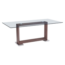 2017 Bazhou Modern wooden dining table with tempered glass