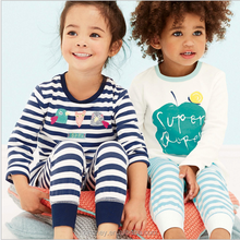 KS10334B Striped pattern kids sleepwear cute print home wear wholesale cotton pajamas