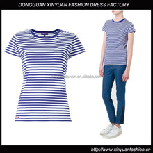Custom Womens Short Sleeve Cotton Striped T Shirts,New Design Top Quality O Neck Cotton Striped T-Shirts For Women