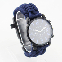 Colorful 550 paracord watch with compass fire starter whistle scraper buckle