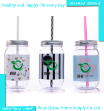 AS plastic material square 16oz plastic mason jars plastic drinking jar with straw and metal lid