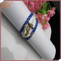 Anchor Sport Team Fans Leather Thread Charm Bracelet Blue