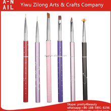 Fashion Metal Handle UV Gel Design Nylon Angled Oblique Head Painting Nail Art Brush Set With Cap