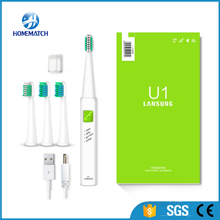 Ultrasonic Sonic Electric Toothbrush USB Charge Rechargeable Tooth Brushes With 4 Pcs Replacement Heads Timer Brush