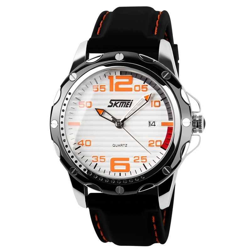 new skmei 0992 men business dress date classic black silicone strap multifunction 30m waterproof quartz wrist watch