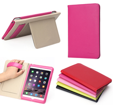 Genuine Leather Ultra Thin 3 folding cover case for ipad mini 4 with stand function