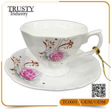 High Quality selling usa products 2017 Flower Shaped Coffee Cup and Saucer Wholesale Tea Cup sets Ceramic