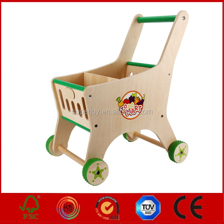 wholesale baby wooden shopping cart toy, high quality kids wooden shopping cart toy, cheap wooden shopping cart toy J5155