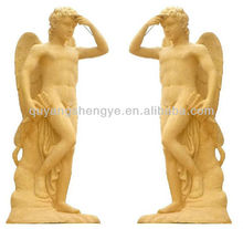 Beautiful life-size gold angel stone statue
