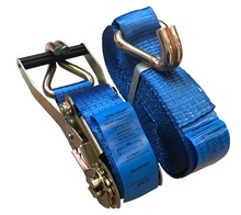 2'' 50mmx9m ratchet strap tie down lashing strap with Double J hooks BS 4000KGS