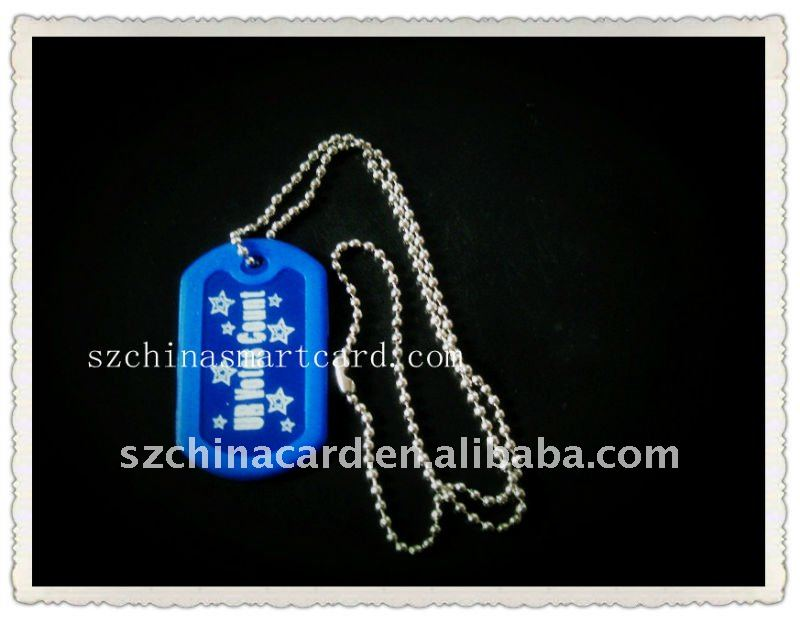 Plastic Military Dog Tags with Iron Ball Chain for Pormotion