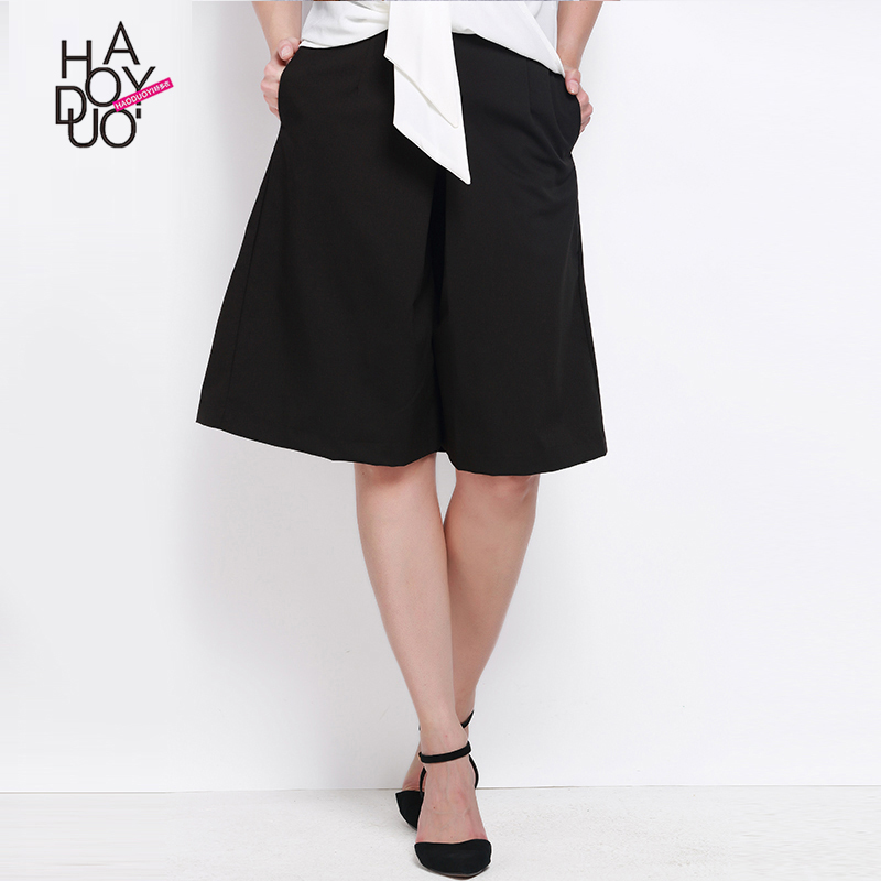 Haoduoyi Women Summer Fashion Capris Crop Side Pockets Solid Black Trousers Casual Travel Loose Wide Leg Pants for Wholesale