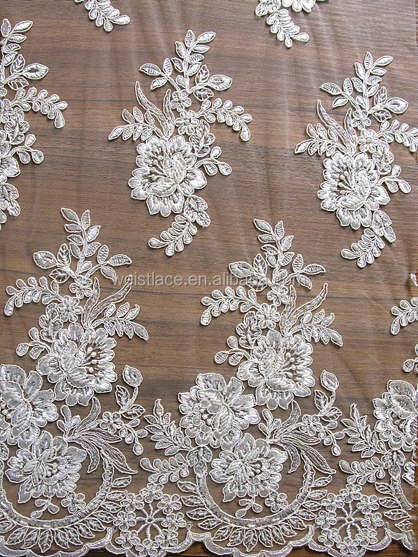 Rigid Beaded Motif Bridal Lace rendas francesas/swiss voile lace fabric/100% Polyester Fabric Lace Peony Embroidery Fashion Lace