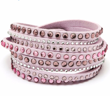 Wholesale Vegan Leather Double Wrap Bracelets with Swarovski Elements Crystal