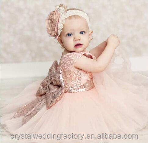Sequined Big Bow Lace Tutu Dress Kids Baby Girl Fashion Princess Party Dress Short Sleeve Kids Dress For Wedding MF1403