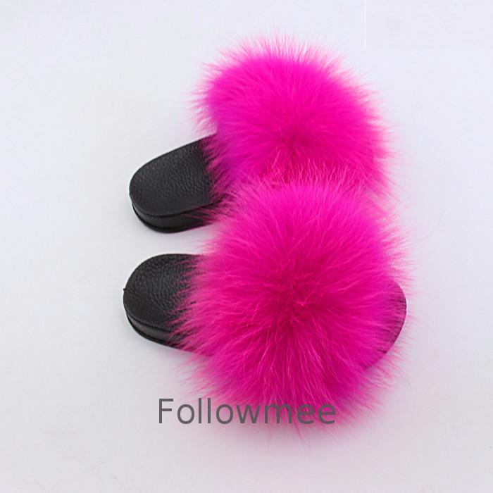 Natural Fox Slippers Kids Toddler Wholesale Fur Child Home Slides Girl Flop <strong>Flips</strong> Raccoon Fluffy Cute fox fur slipper