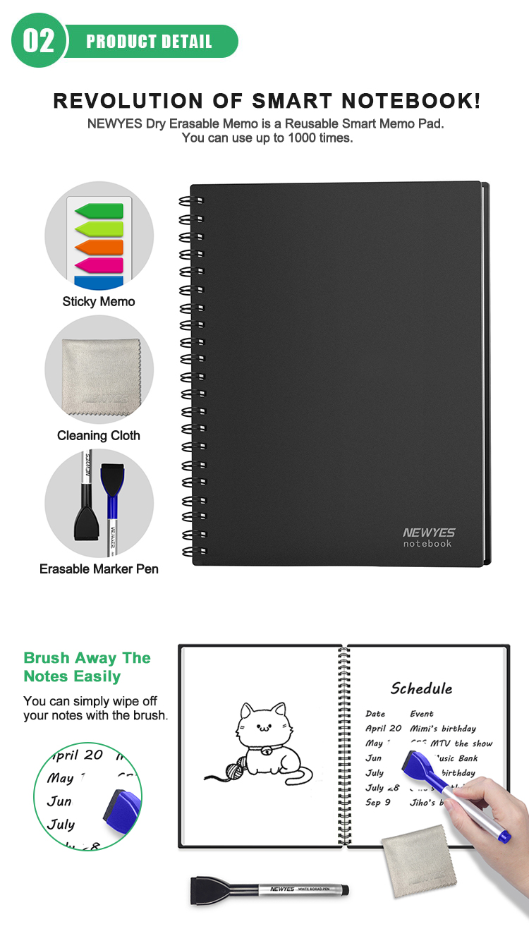 New Gift Set Blank Journal Dry Erase Note Pad Reusable To Do List Whiteboard Notebook With Marker Pen