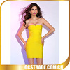 2014 strapless lemon cocktail dresses bandage yellow sexy wear