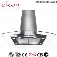 hot sale best ultra thin curved glass copper motor finger touch switch 4 LED 900mm european style glass island cooker hood