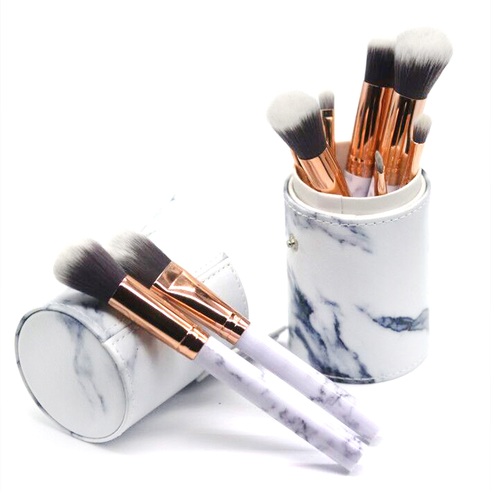 Chinese 10pcs White Marble Professional Makeup Brush With Cylinder