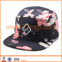 leather strap floral flower 5 panel caps hats