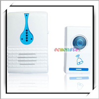 Wireless Door Entry Chime Doorbell with 32 Chimes White and Blue