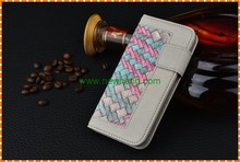 New Arrival Weave Pattern Leather Phone Wallet Case For iPhone6/6s plus