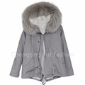 CX-G-P-11 Winter Women Parka Genuine Rex Rabbit Fur Lining Fur Coat