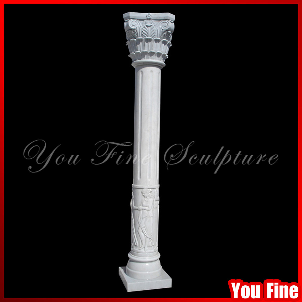 Natural White Stone Carving House Pillar