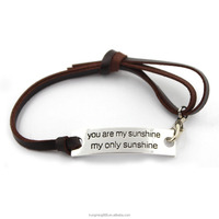 New arrival customerized gift fashion jewely 17 cm silver plated anchor leather bracelet