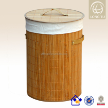 with handles and lining foldable bamboo storage basket