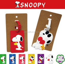 Hot Travel Accessories Snoopy Soft PVC Luggage Tag/ Suitcase Tag