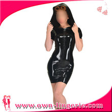 Women Sexy Pole Dance Dress Clothes Hooded Faux Latex Catsuit PVC Cosplay Costumes