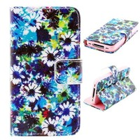 Cartoon pattern flip wallet leather case for iPhone 4G,for iPhone 4 4s case