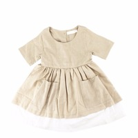 Wholesale Stylish 6 Years Old Baby Dresses 2 Pocket Skirt