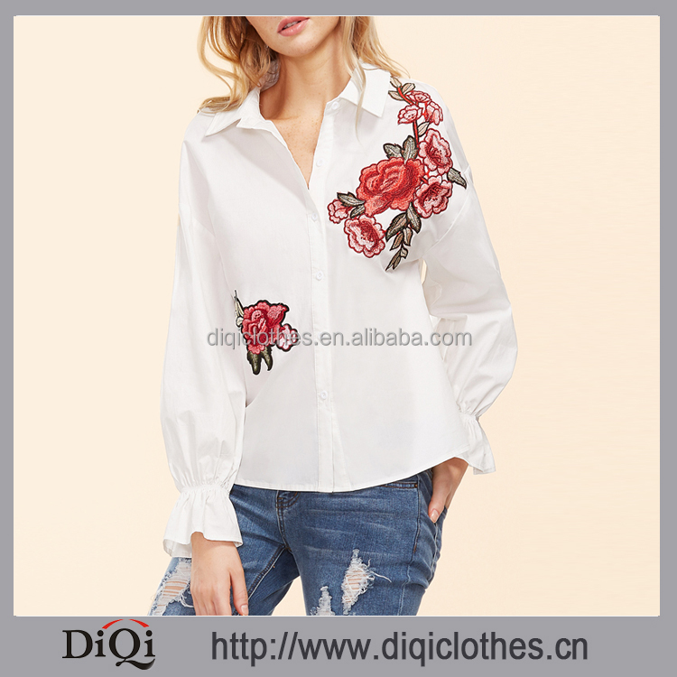 2017 guangzhou clothing factory OEM ladies Vintage White Long Sleeve Embroidered Ruffle Sleeve 100% Cotton Blouse