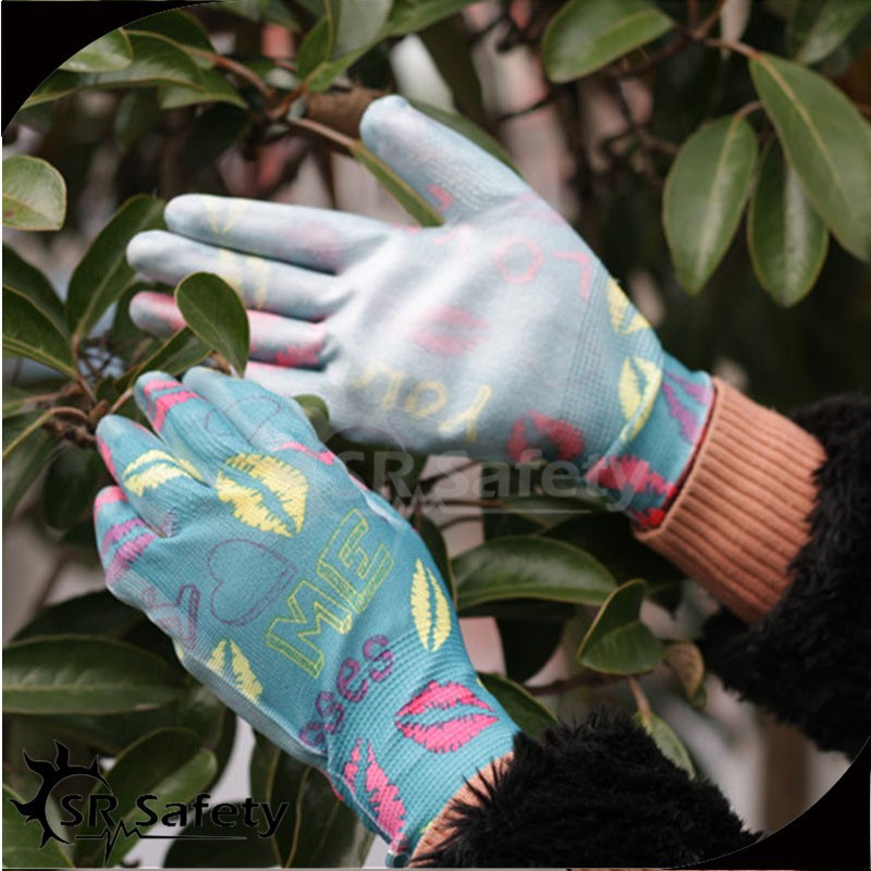 SRSAFETY 13 gauge knitted polyester/ nylon liner coated thin PU on palm garden working gloves, women work gloves