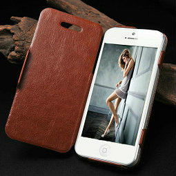 stand holder pu leather case for iphone 5 with pc cover and card slots