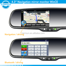 4.3 inch garmin gps navigation rearview mirror gps garmin with bluetooth ,reverse camera display