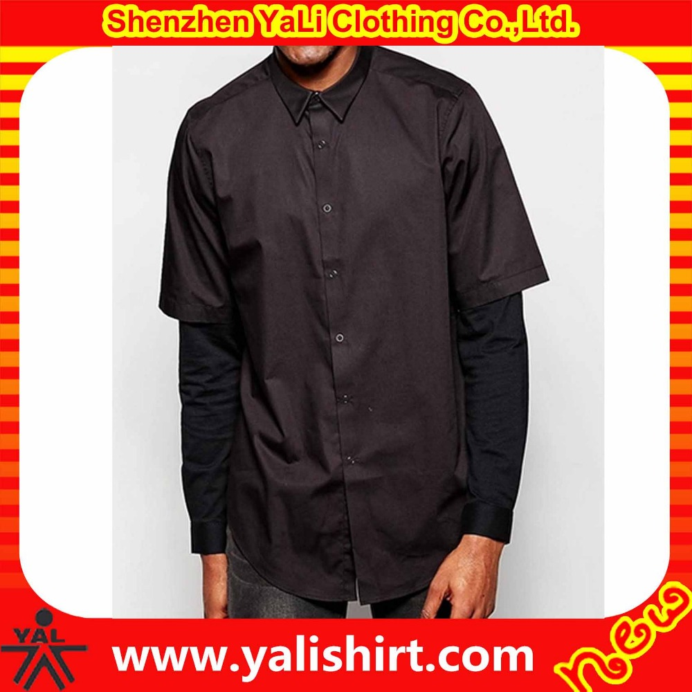 Classic high quality plain bulk cotton/polyester oversized splice long sleeve men shirts brand names